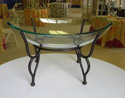 Large Bowl Display Stand Black iron Display Stand Oval Glass Bowl with Black Wrought Iron 27