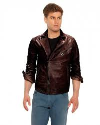 mens brown leather motorcycle jacket with notch lapel collar 1