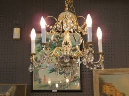 vintage mid century modern 5 arm brass and crystal chandelier 295