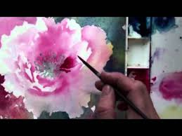 watercolor with lian quan zhen peony hummingbird