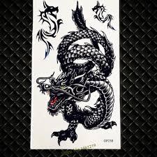 Top Quality Black Dragon Temporary Tattoo For Men Totem Armband Fake