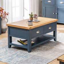 westbury blue painted 2 drawer coffee