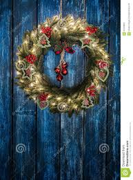 Wreath With Blue Lights Christmas Wreath Stock Photo Image Of Pine Tree Vintage