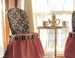 furniture beautiful pink fl motif cover dining chairs near small white vintage tea table beautiful