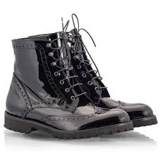 black patent leather oxford perforated lace up combat boots