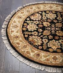 rugsville black persian style hand knotted fl round rug 120 x 120