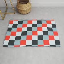 stainless steel knife pixel patten in light gray light blue and red rug