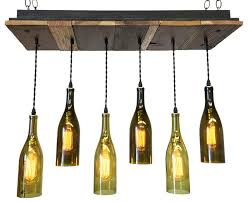 reclaimed wood wine bottle chandelier with bulbs suspended mount