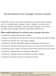 Assistant Nurse Manager Resume Sample