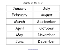 Free Printable Months Of The Year Chart Months In A Year
