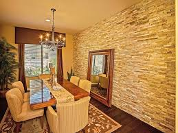 Small Picture stone accent wall Dining Room Traditional with beige wall beige