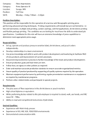 Machine Operator Job Description Samples Resume Cover Letter Press