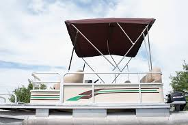 finished 3 bow bimini frame and top on our project pontoon boat