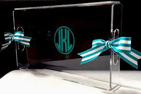 personalized acrylic serving tray handles lucite tray hostess gift monogram new ebay