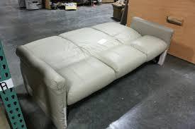 used rv flexsteel tan vinyl jack knife sleeper sofa for