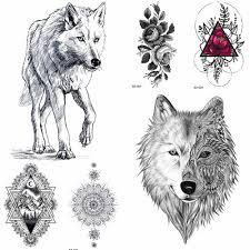 Yuran черным карандашом эскиз временные татуировки наклейки для