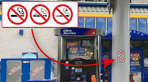 gas pumps canopies must also include no smoking cans signs