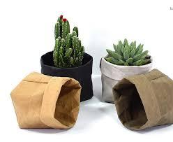 Paper Flower Pots 2019 Foldable Pots Kraft Paper Flowerpot Waterproof Environmental Protection Planters Storage Bag Mini Garden Vegetable Pouch Free Ship From