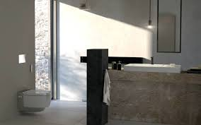 industrial style bathroomutilitarian aesthetic marble porcelain and  concrete can be used on either the walls or