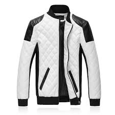 2017 New Brand Slim Men Bomber Jackets Casual Fashion Plaid PU ... & 2017 New Brand Slim Men Bomber Jackets Casual Fashion Plaid PU Leather  Jacket Men Jaqueta de couro Black White Plus Size 5XL 6XL-in Jackets from  Men's ... Adamdwight.com