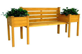 outdoor bench with planter boxes leisure season wood