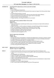 Software Build Resume Samples Velvet Jobs