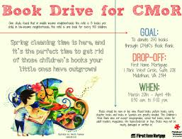 book drive flyers book drive at first home mor on january book driv
