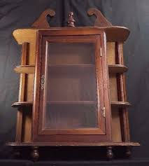 2 of 12 vintage wall hanging curio cabinet shelf table top glass door wood display case