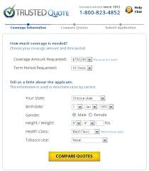 life insurance quote form from trusted quote