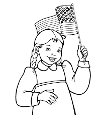 Small Picture Smiling Girl Waving Flag on Flag Day Coloring Pages Download
