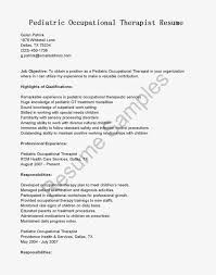 pediatric occupational therapist resume sample resume occupational therapist