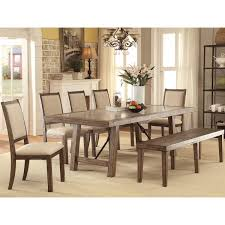 furniture of america bailey rustic 6 piece weathered elm dining set