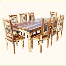 rustic 9pc dining room table chairs set furniture w wrought iron for 8 people ebay