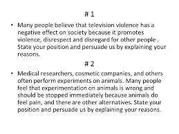research project oral presentation power point or essay due  1 many people believe that television violence has a negative effect on society because it