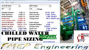 Chilled Water Pipe Size Calculation