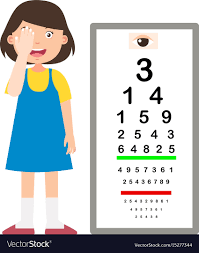 Girl With Eye Chart Test Diagnostic