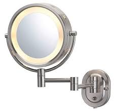17 best ideas about wall mounted makeup mirror details about jerdon hl65n 8 inch lighted wall mount makeup mirror 5x magnification halo nickl