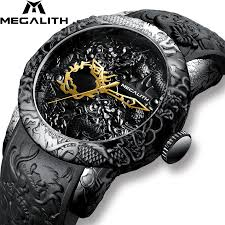 MEGALITH <b>Fashion Gold</b> Dragon Sculpture <b>Watch</b> Men Quartz ...