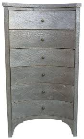 Hammered Metal Tall Chest of Drawers For Sale