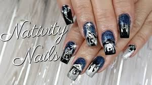 Nativity Nail Designs Nativity Gel Nail Art On My Moms Nails Watch Me Work
