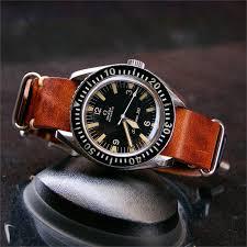 20mm cognac vintage leather nato strap band on a vintage omega seamaster300