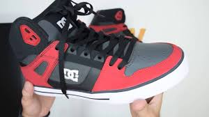 dc shoes high tops red and black. dc shoes spartan high wc - red grey black walktall | unboxing hands on dc tops and i