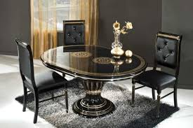 Dining Room Impressive Grey Colored Rug Carpet Placed Below Glossy - Black oval dining room table