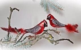 2 X Glasvogel Kardinal Rot Lauscha Glas Vogel Mit Feder