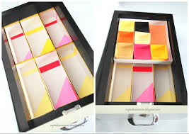 diy decorated cereal boxes turned drawer inserts for