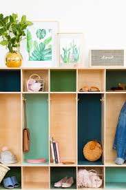 diy color block storage lockers by top houston lifestyle blogger ashley rose of sugar cloth