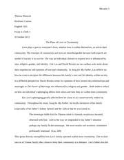 on building a community of love essay theresa murante english 5 pages song for my father essay