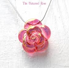 pink rose necklace glass hand blown lampwork flower pendant