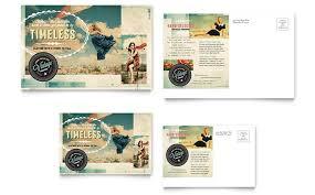 Vintage Clothing Postcard Template Design