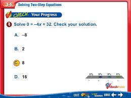 a 2 b 3 c 4 d example 4 a 8 b 2 c 8 d 16 solve 0 4x 32 check your solution